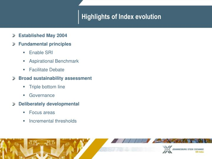 Highlights of Index evolution
