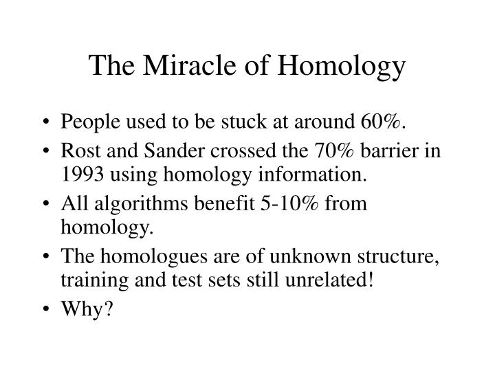 The Miracle of Homology