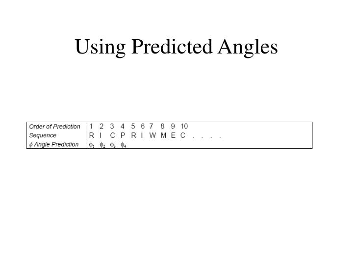 Using Predicted Angles