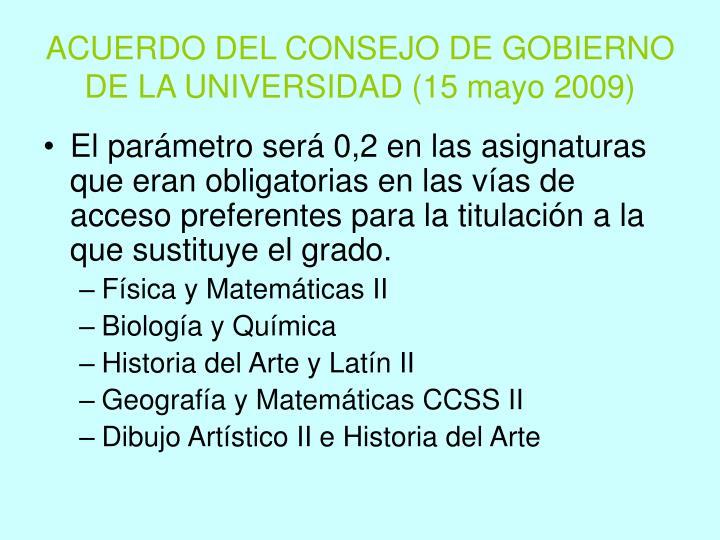 ACUERDO DEL CONSEJO DE GOBIERNO DE LA UNIVERSIDAD (15 mayo 2009)