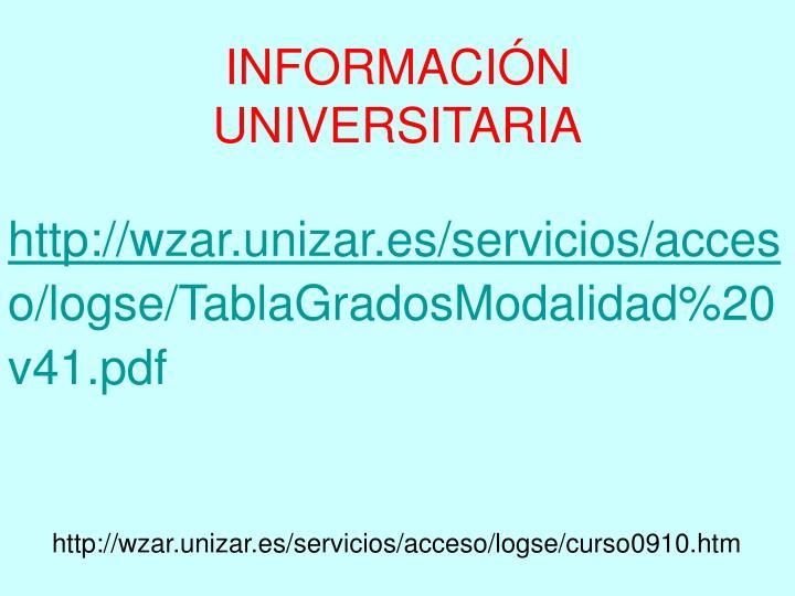 INFORMACIÓN UNIVERSITARIA