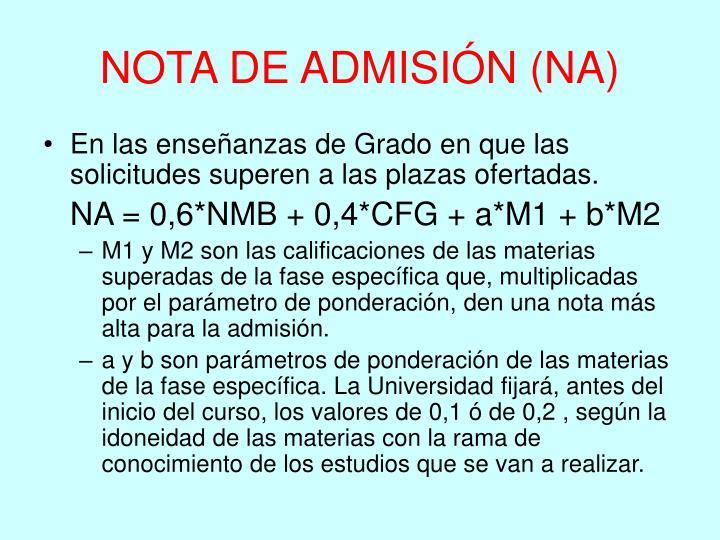NOTA DE ADMISIÓN (NA)