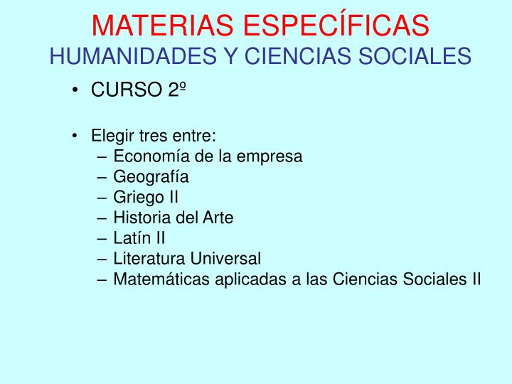 MATERIAS ESPECÍFICAS