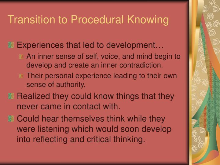Transition to Procedural Knowing