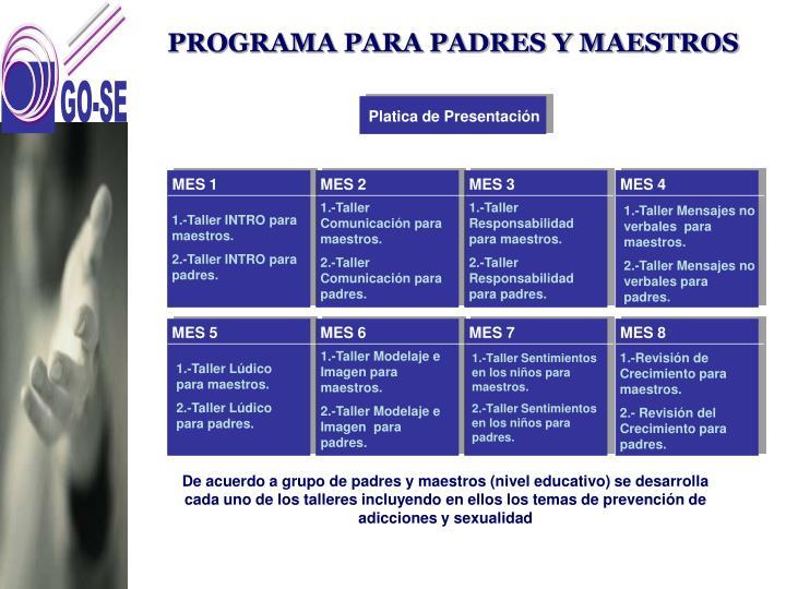 PROGRAMA PARA PADRES Y MAESTROS