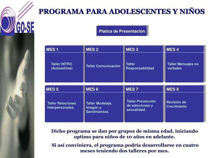 PROGRAMA PARA ADOLESCENTES Y NIÑOS
