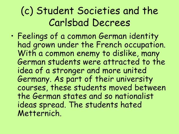 (c) Student Societies and the Carlsbad Decrees