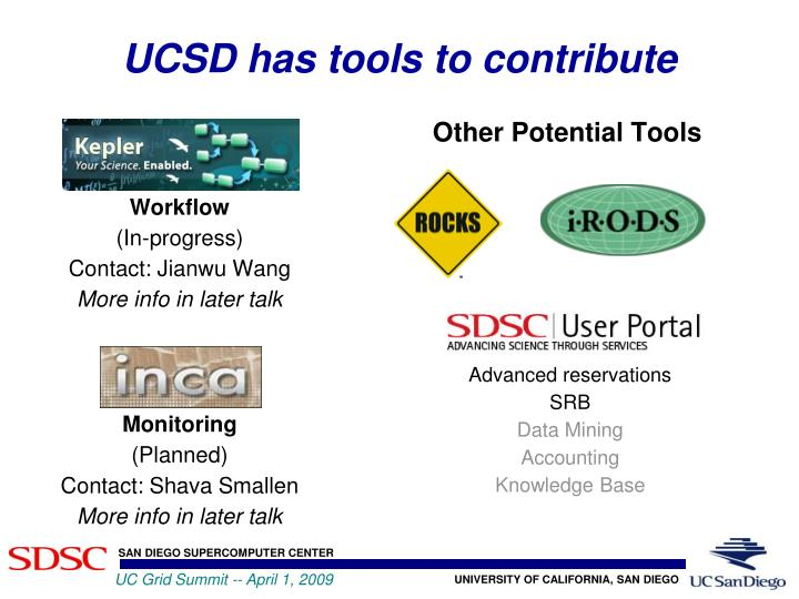 UCSD has tools to contribute