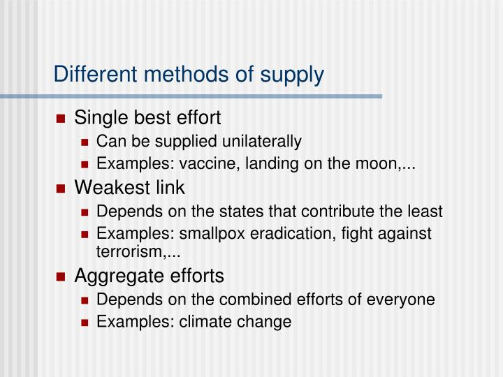 Different methods of supply