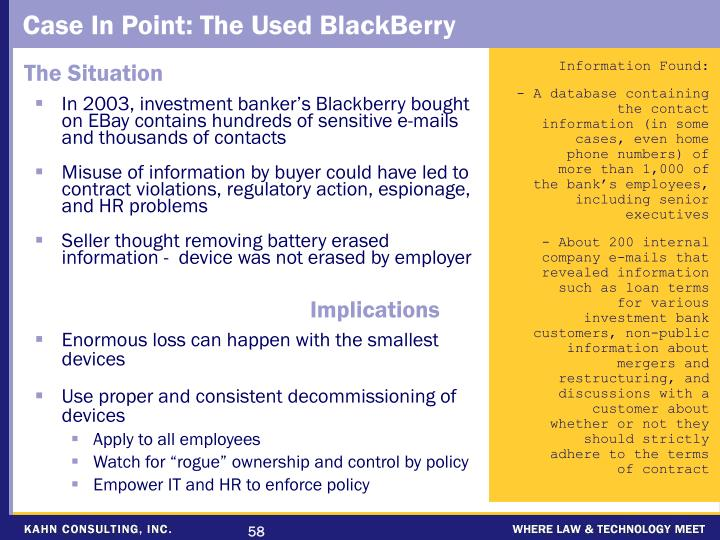 In 2003, investment banker's Blackberry bought on EBay contains hundreds of sensitive e-mails and thousands of contacts
