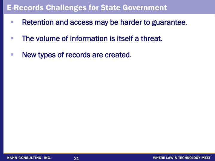 E-Records Challenges for State Government