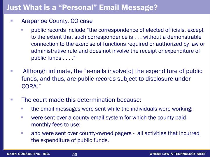 "Just What is a ""Personal"" Email Message?"