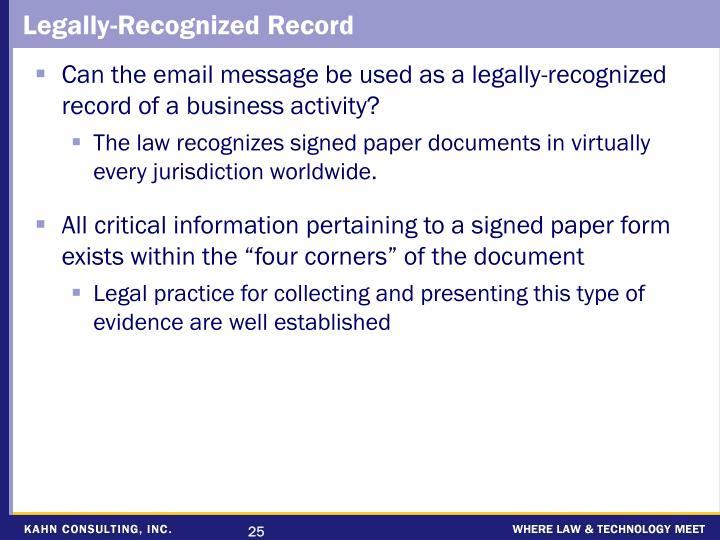 Legally-Recognized Record