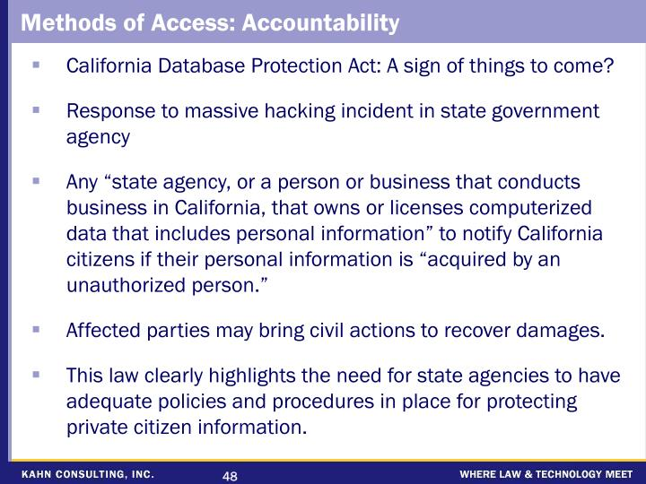 Methods of Access: Accountability