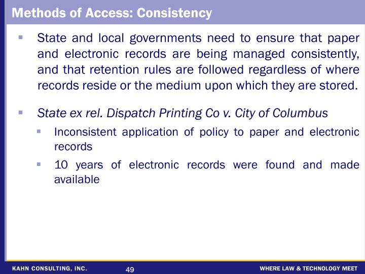 Methods of Access: Consistency