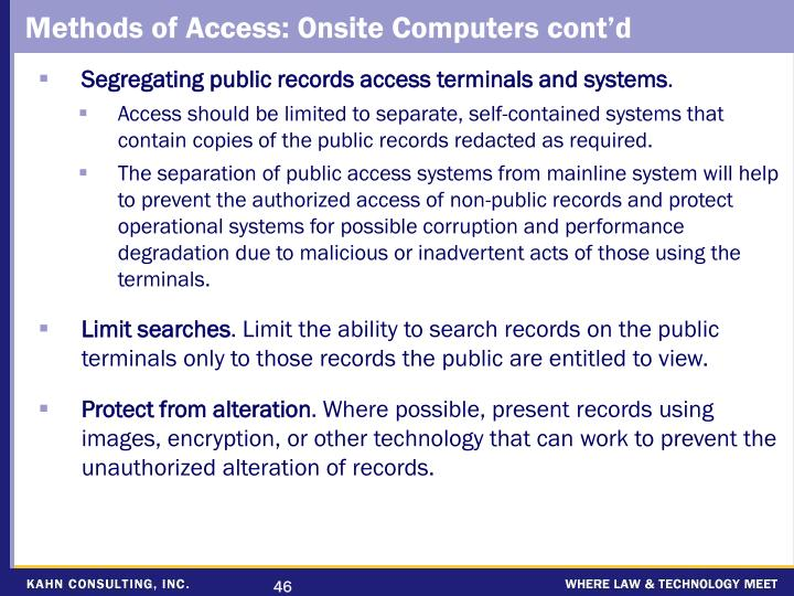 Methods of Access: Onsite Computers cont'd