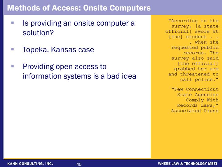 Methods of Access: Onsite Computers