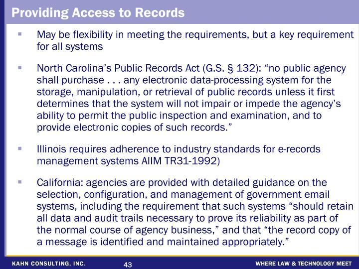 Providing Access to Records