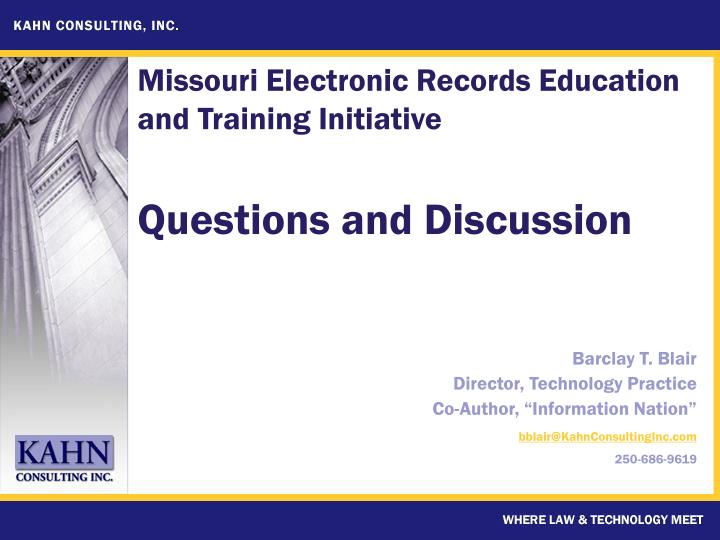 Missouri Electronic Records Education and Training Initiative