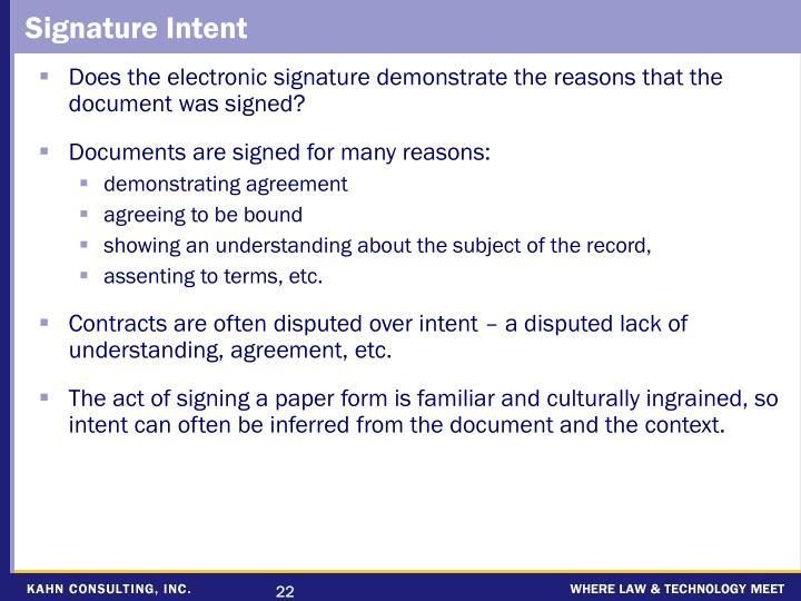 Signature Intent