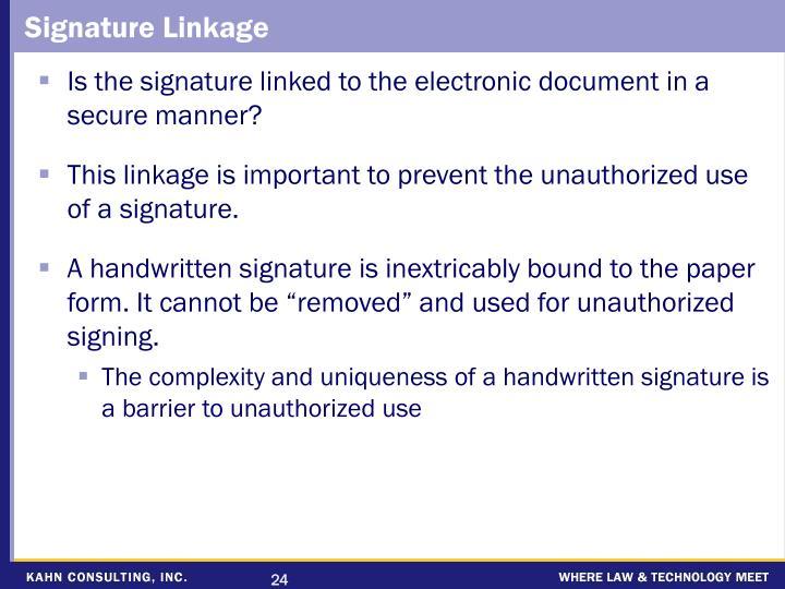 Signature Linkage