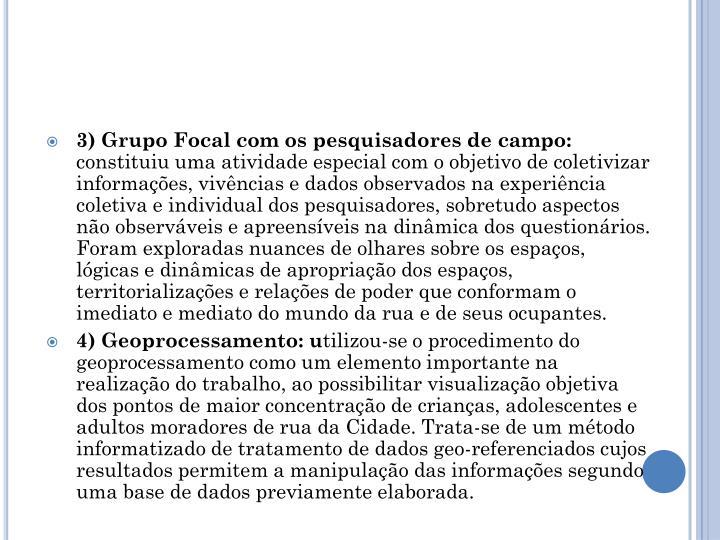 3) Grupo Focal com os pesquisadores de campo: