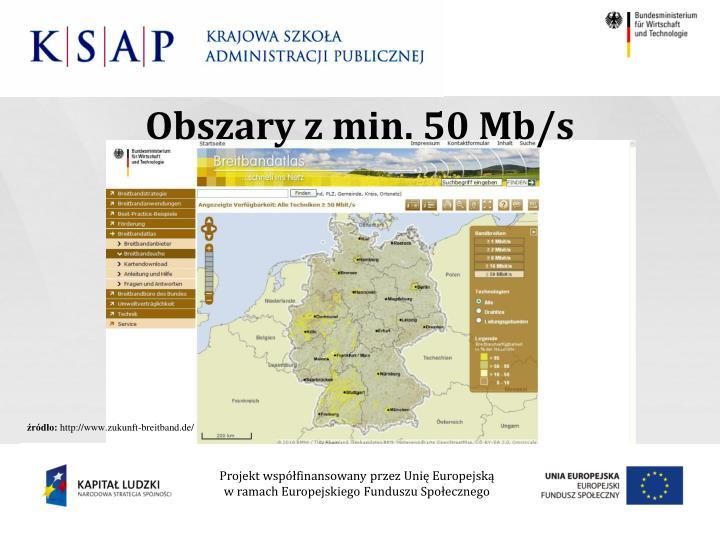 Obszary z min. 50 Mb/s