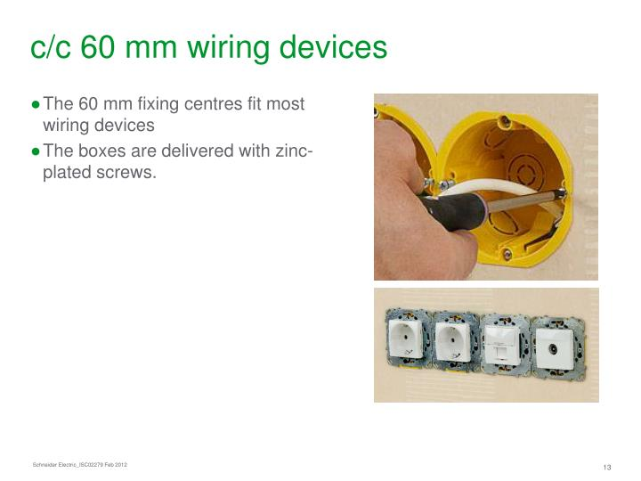 c/c 60 mm wiring devices