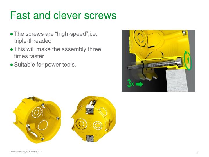 Fast and clever screws