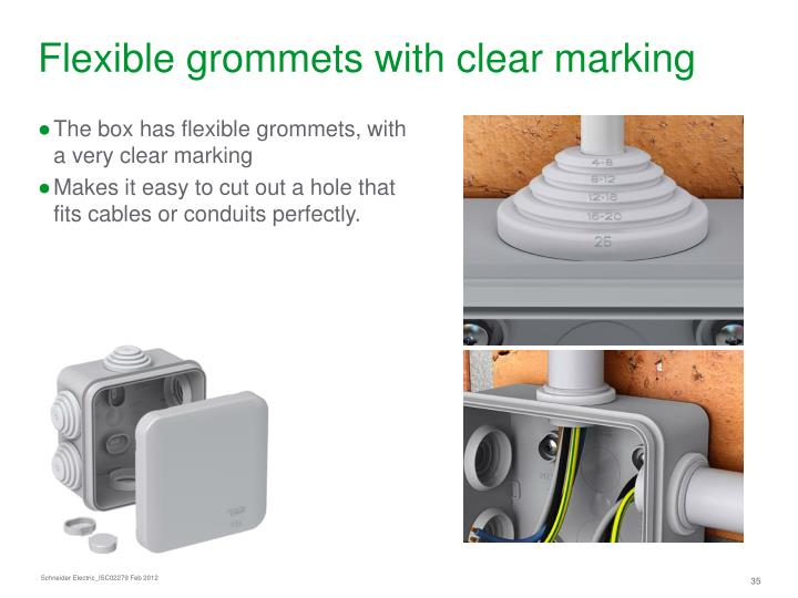 Flexible grommets with clear marking