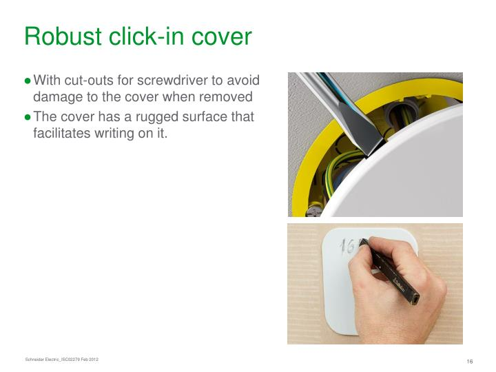 Robust click-in cover