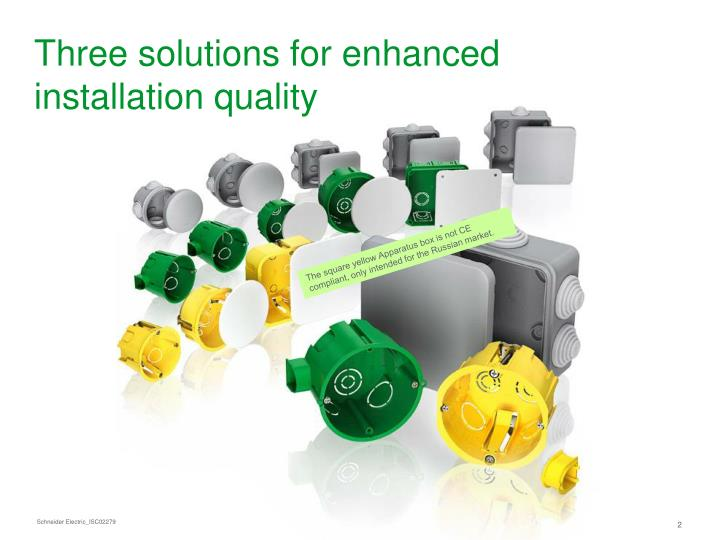 Three solutions for enhanced installation quality