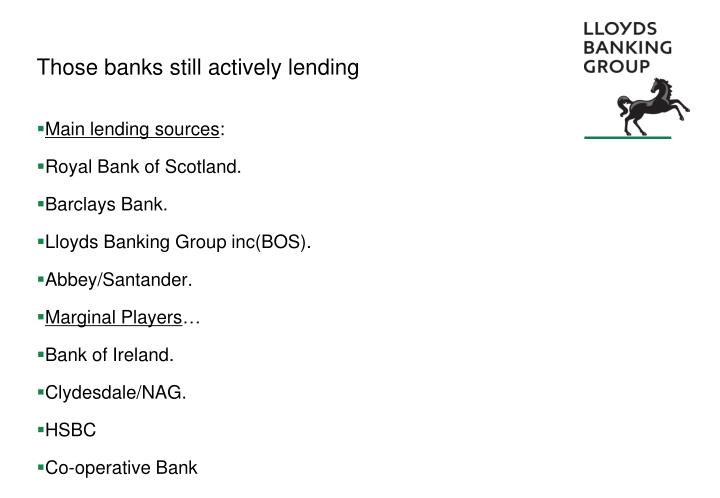 Those banks still actively lending