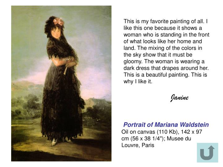 This is my favorite painting of all. I like this one because it shows a woman who is standing in the front of what looks like her home and land. The mixing of the colors in the sky show that it must be gloomy. The woman is wearing a dark dress that drapes around her. This is a beautiful painting. This is why I like it.