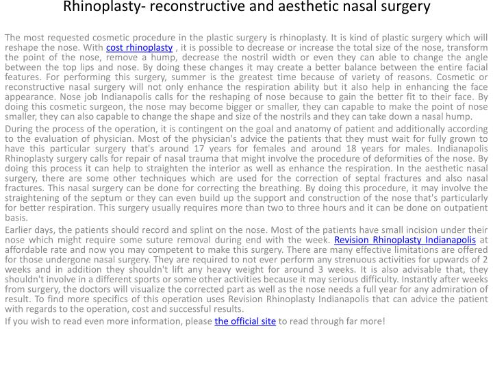 Rhinoplasty reconstructive and aesthetic nasal surgery