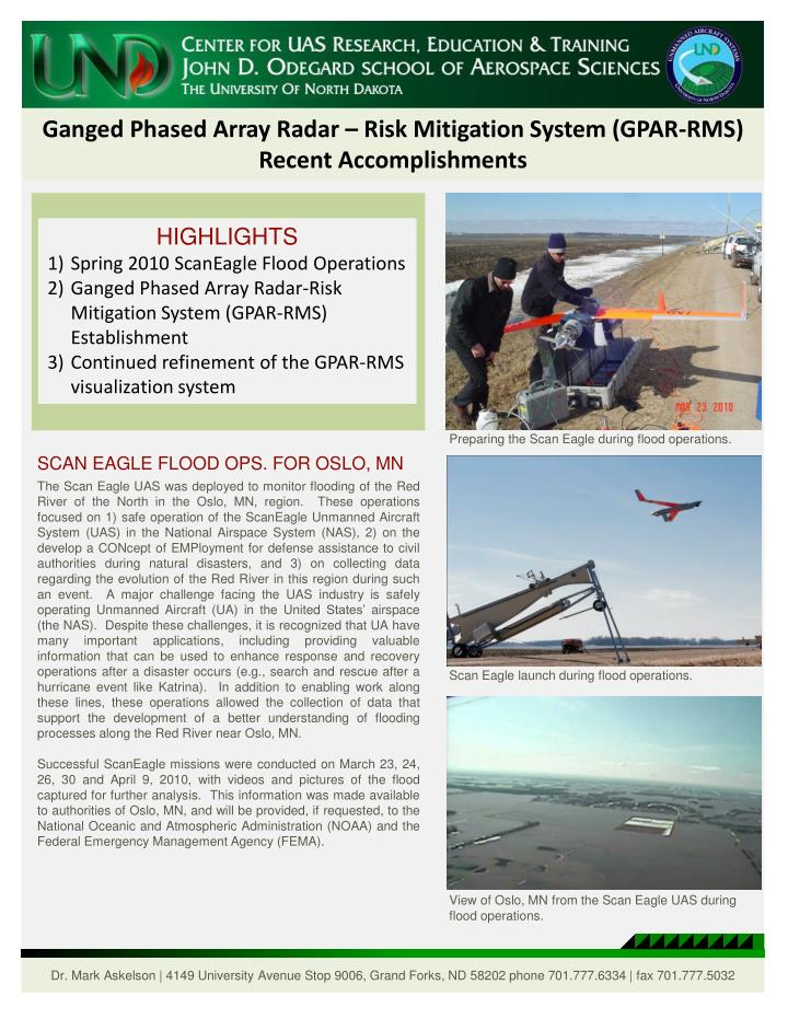 Ganged Phased Array Radar – Risk Mitigation System (GPAR-RMS)