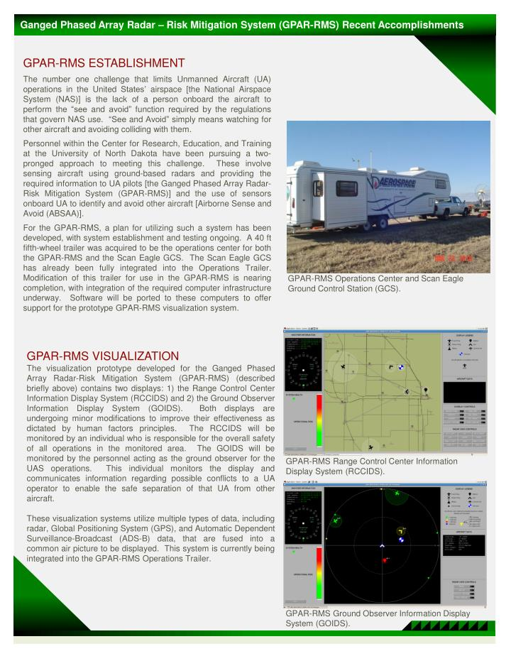 Ganged Phased Array Radar – Risk Mitigation System (GPAR-RMS) Recent Accomplishments