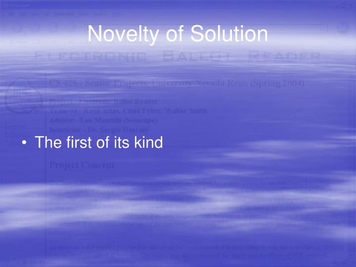 Novelty of Solution