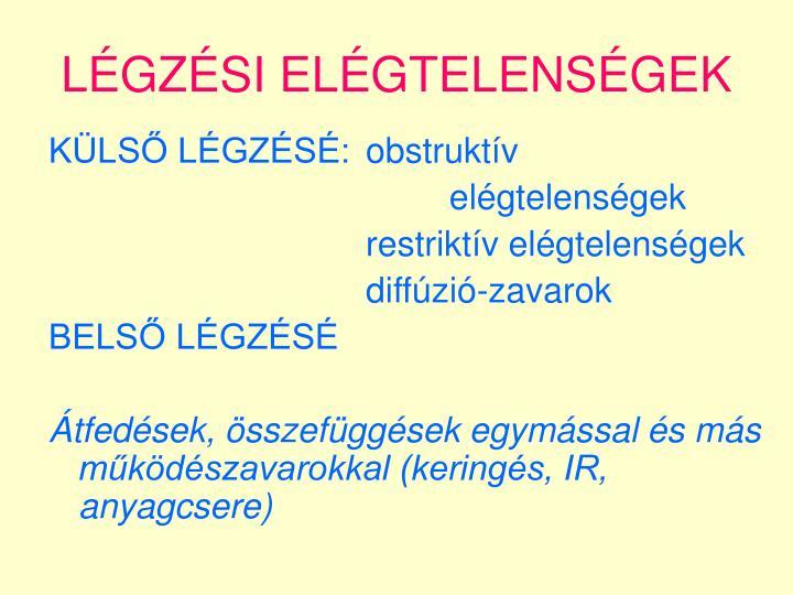 LÉGZÉSI ELÉGTELENSÉGEK
