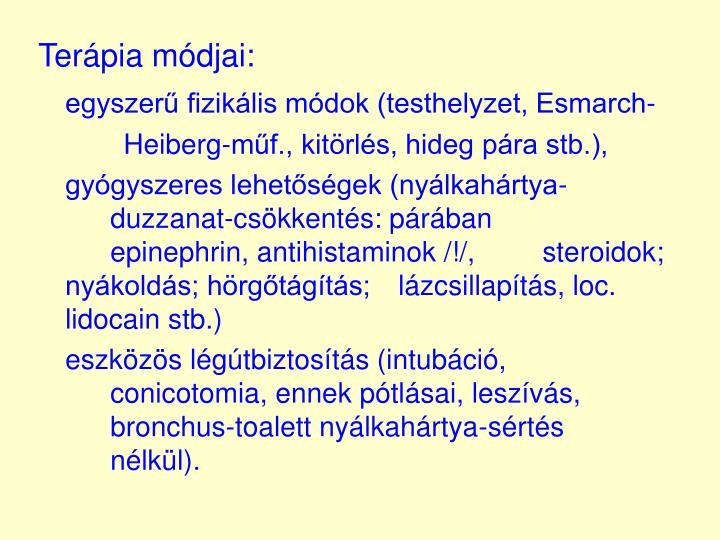 Terápia módjai:
