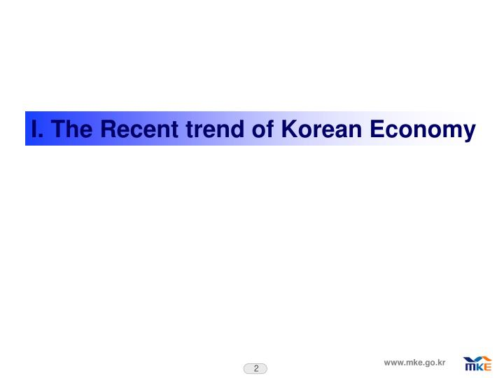 I. The Recent trend of Korean Economy