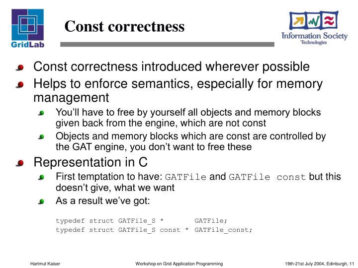 Const correctness