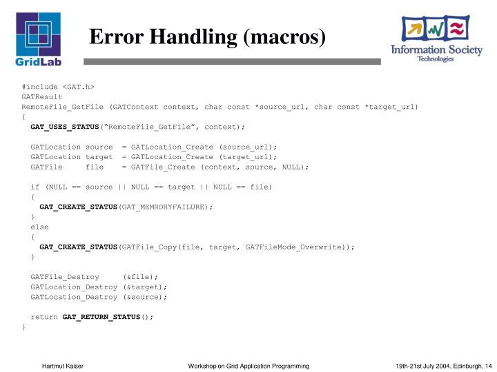 Error Handling (macros)