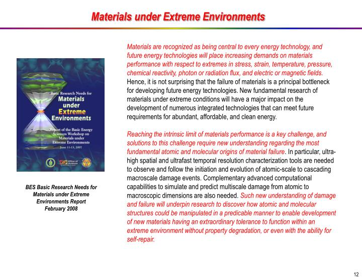 Materials under Extreme Environments