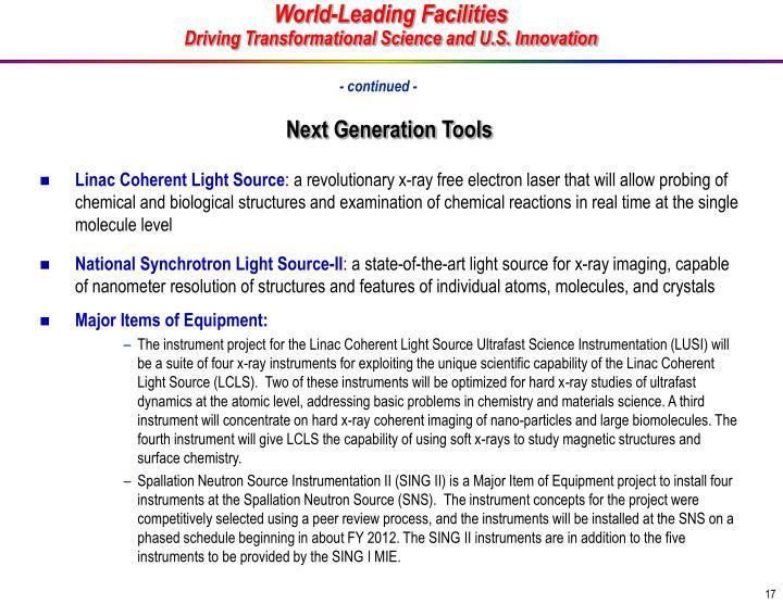 Next Generation Tools