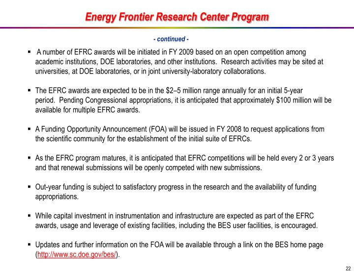 Energy Frontier Research Center Program