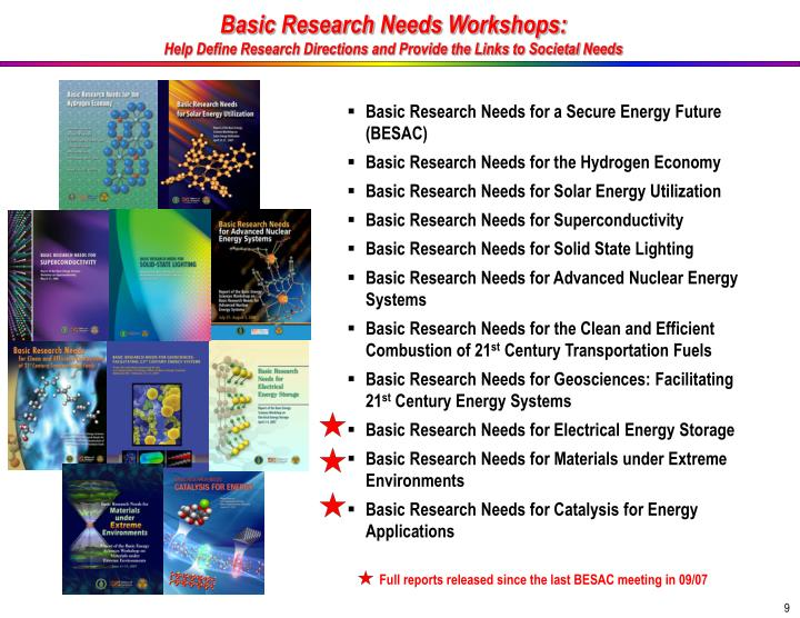Basic Research Needs Workshops: