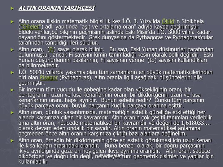 ALTIN ORANIN TARİHÇESİ