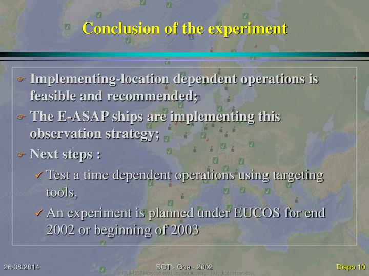 Conclusion of the experiment