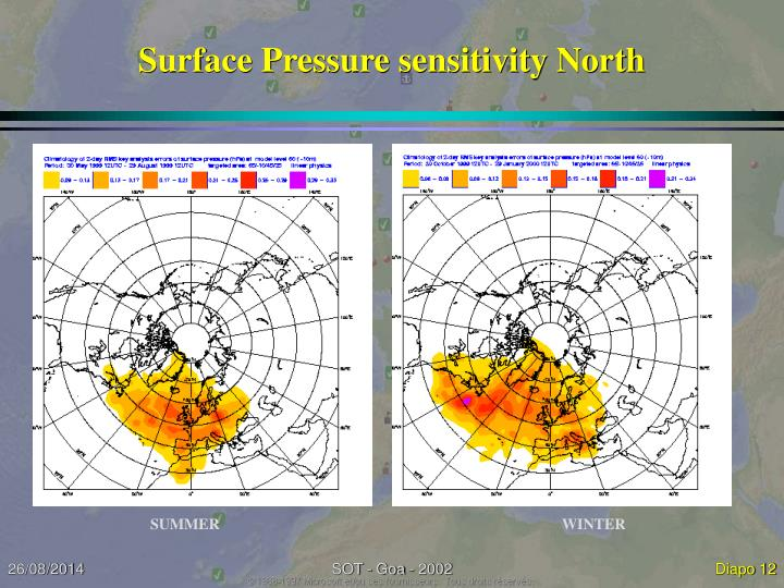 Surface Pressure sensitivity North
